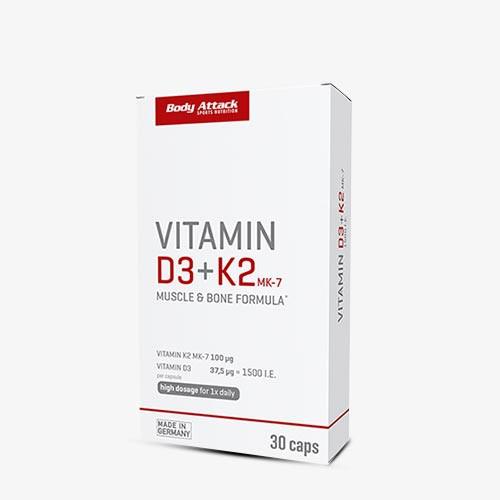BODY ATTACK Vitamin D3+K2 30 Kapseln Vitamine und Mineralien