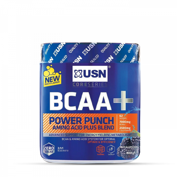 USN BCAA POWER PUNCH 400g Aminos - Blue Raspberry - MHD 31.03.2021