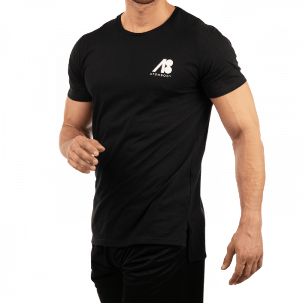 ATOMBODY T-shirt ultra long, men, M, black Sportbekleidung