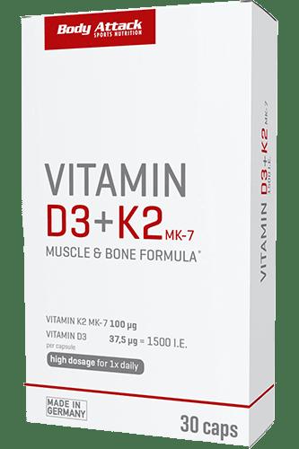 Body Attack Vitamin D3+K2, 30 Kapseln Vitamine und Mineralien