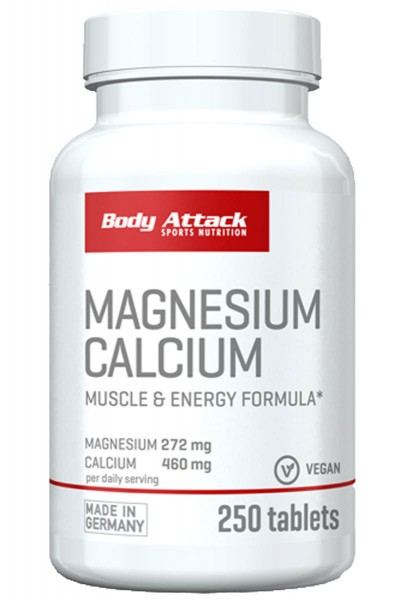 Body Attack Magnesium Calcium, 250 Tabletten Vitamine und Mineralien