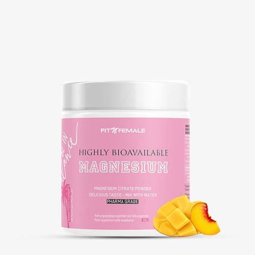FITNFEMALE Magnesium Citrate - hochdosiert 300g - Mango Peach