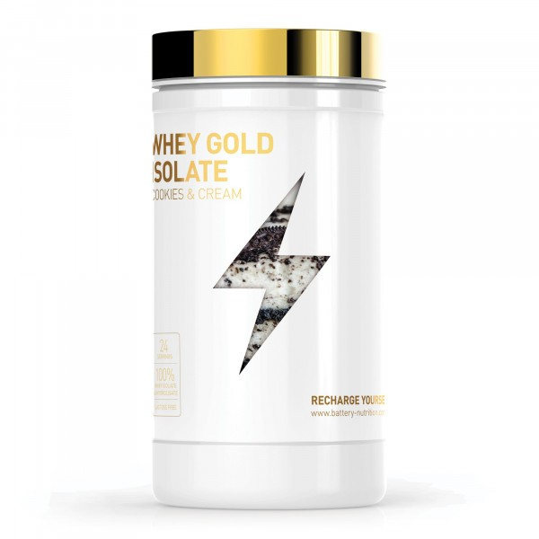 BATTERY WHEY GOLD ISOLATE 600g Cookies & Cream Proteine