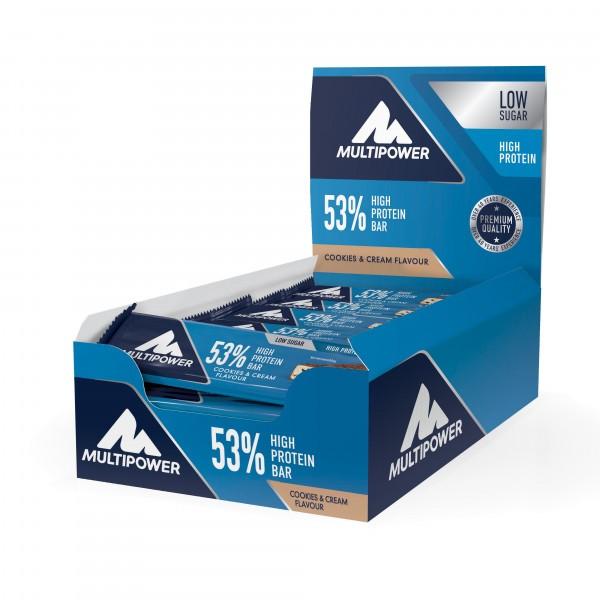 MULTIPOWER 53% Protein Bar Riegelbox 24 Stück 50g Bars und Snacks