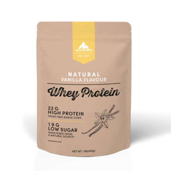 MULTIPOWER 100% Natural Whey 450g Proteine - Vanilla Cream - MHD 31.01.2021