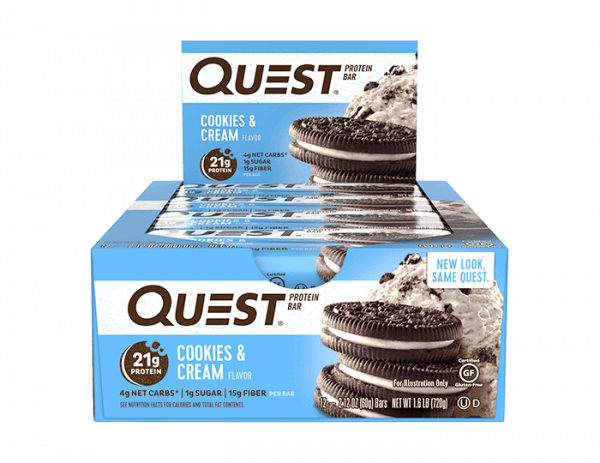 Quest Nutrition - Quest Bars, (12 x 60g) - Cookies & Cream - MHD 18.12.2019