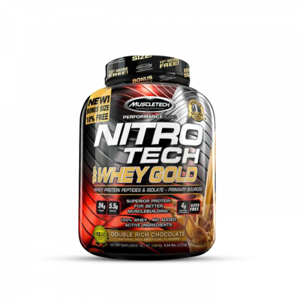 Muscletech - Performance Series Nitro Tech 100% Whey Gold, 2508g - Double Rich Chocolate Proteine