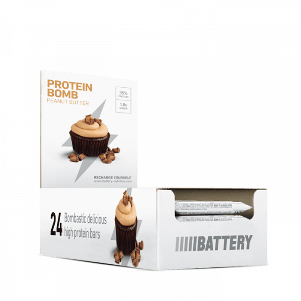BATTERY PROTEIN BOMB, 24 x 60g, Peanut Caramel Bars und Snacks - MHD 06.2020