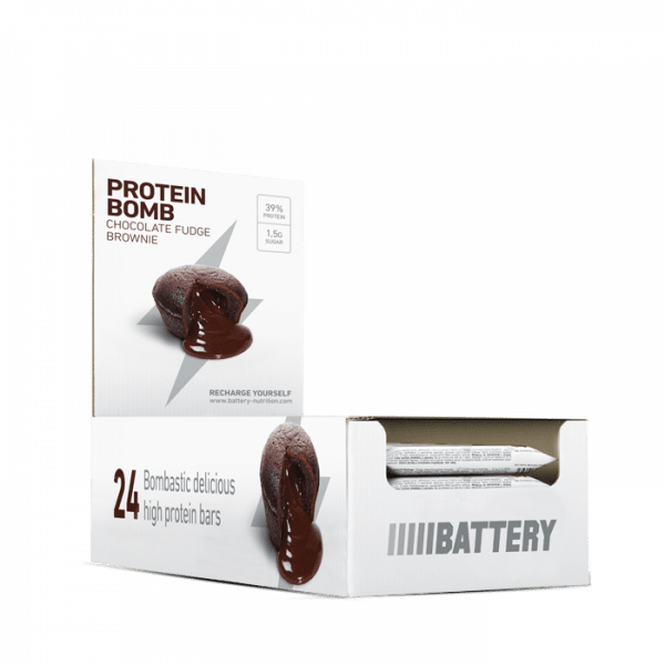BATTERY PROTEIN BOMB, 24 x 60g, Chocolate Fudge Brownie Bars und Snacks