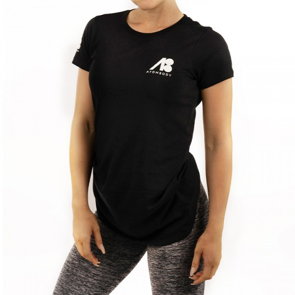 ATOMBODY T-Shirt basic ultra long, woman, black Sportbekleidung