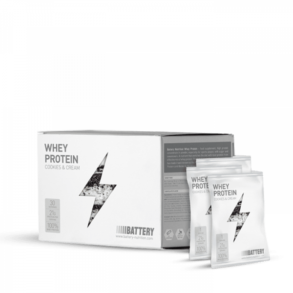BATTERY WHEY PROTEIN, 30x30g, Cookies & Cream Proteine