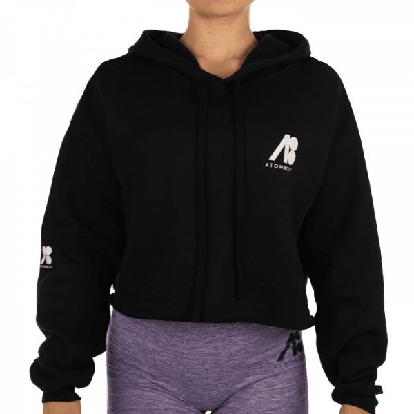 ATOMBODY Hoodie Fleece kurz, woman, L, black Sportbekleidung