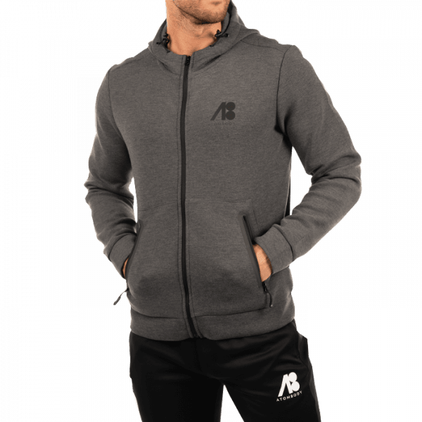 ATOMBODY Hoodie Jacket 2in1, men, dark melange Sportbekleidung